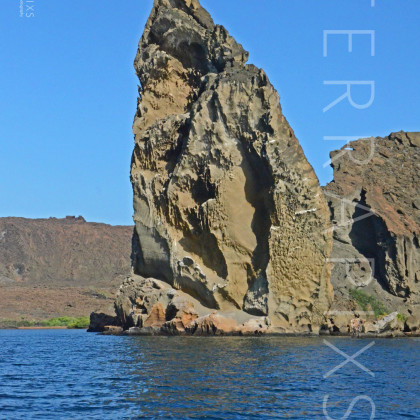 GAL154 Pinacle Rock on Bartolome Island-Galapagos Islands, Ecuador